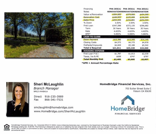 4901 Hotchkiss Hill financing flyer