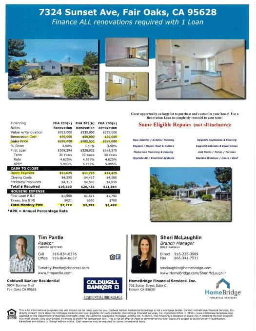 7324 Sunset Ave Fair Oaks financing flyer